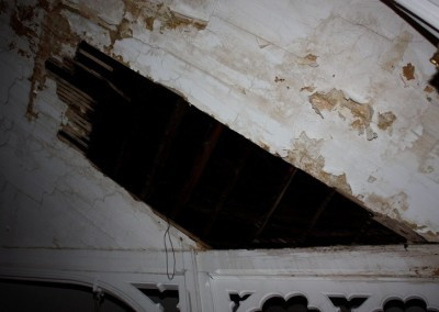 Former hole in the ceiling of Pilgrim Church before its repair in 2009