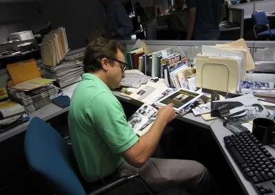 Whitford as Albom at the Detroit Free Press