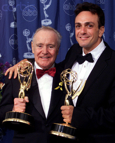 Actors Jack Lemmon (L) and Hank Azaria and their Emmy statuettes