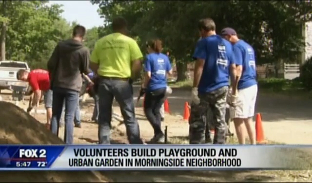 Fox 2 News: Volunteers Build Playground and Urban Garden